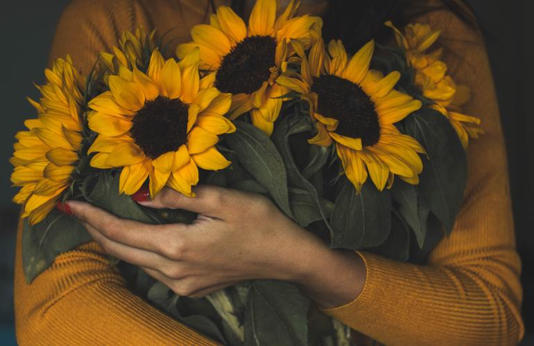 Person wearing a golden yellow sweater holding a bunch of sunflowers